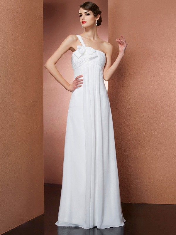 A-Line Chiffon One-Shoulder Sleeveless Floor-Length With Bowknot Dresses