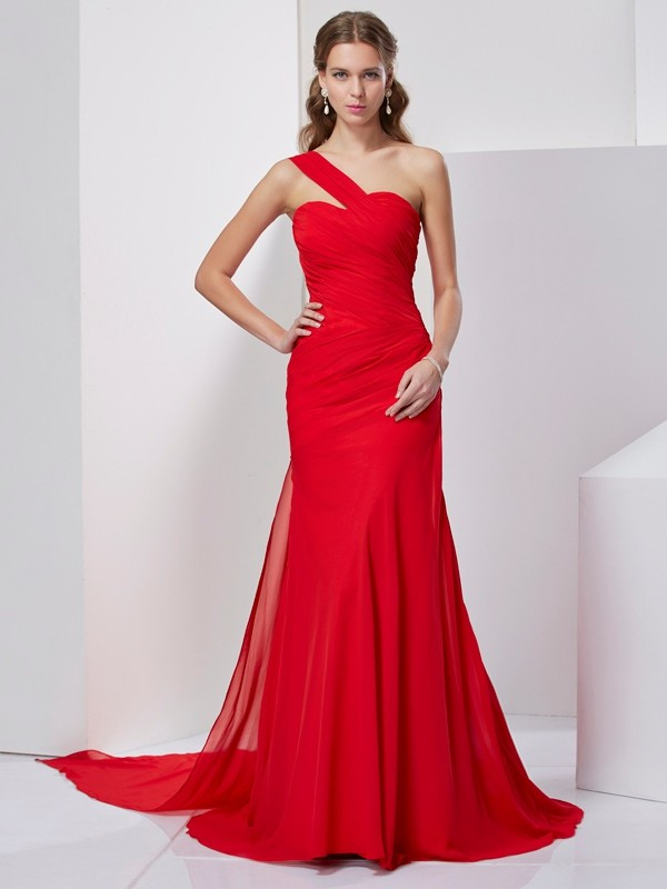 A-Line Chiffon One-Shoulder Sleeveless Sweep/Brush Train With Pleats Dresses