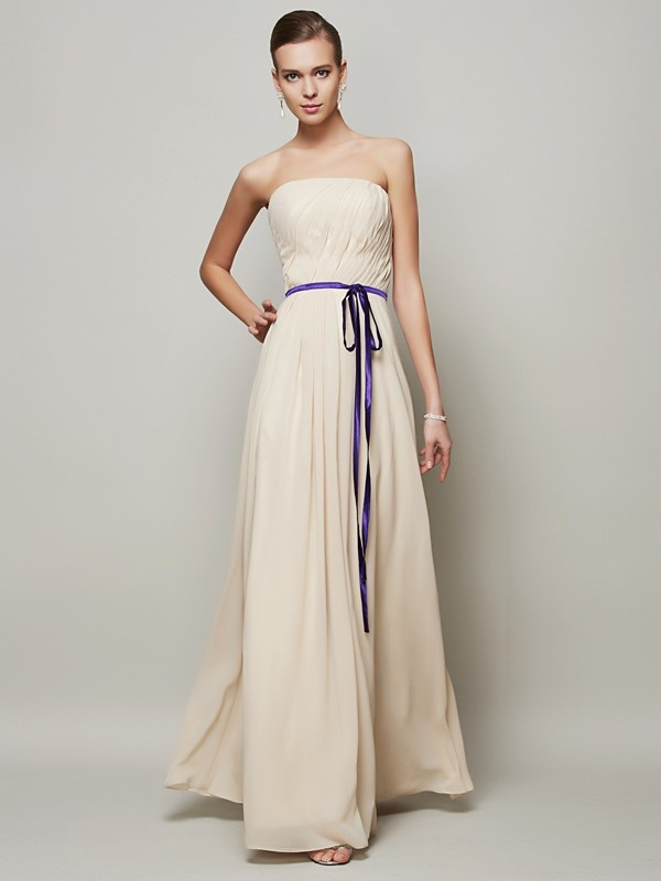 A-Line Chiffon Strapless Sleeveless Floor-Length With Sash/Ribbon/Belt Dresses