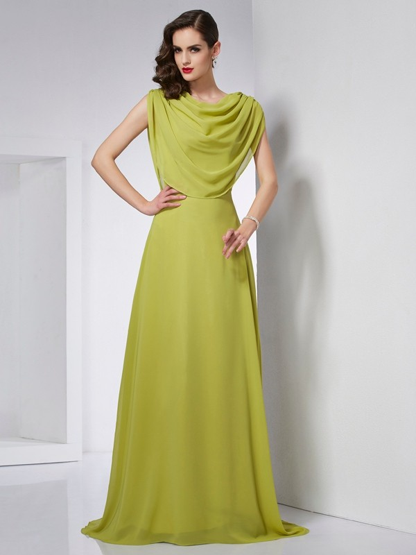 A-Line Chiffon High Neck Sleeveless Sweep/Brush Train With Pleats Dresses