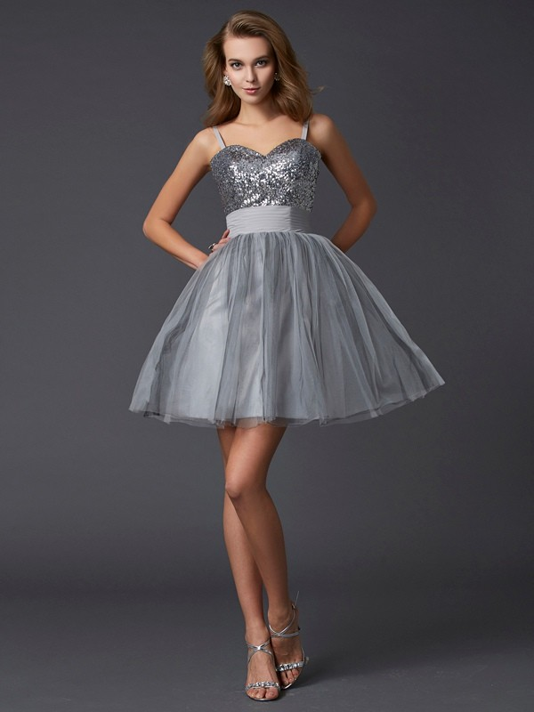 A-Line Organza Spaghetti Straps Sleeveless Short/Mini With Sequin Homecoming Dresses