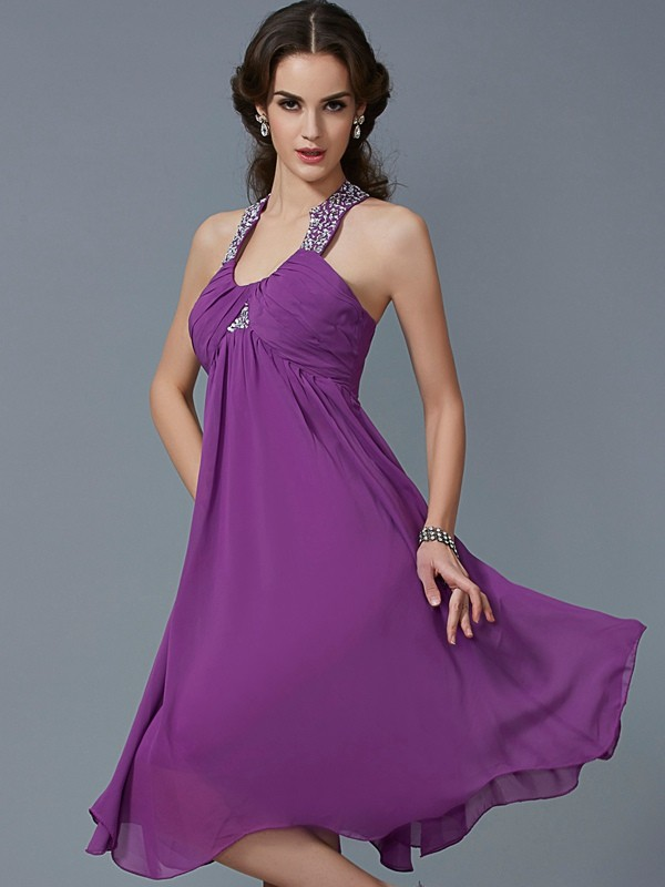 A-Line Chiffon Halter Sleeveless Knee-Length With Beading Dresses