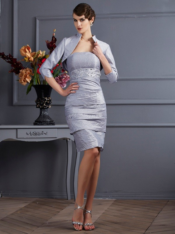 Sheath Taffeta Strapless Sleeveless Knee-Length With Layers Mother of the Bride Dresses