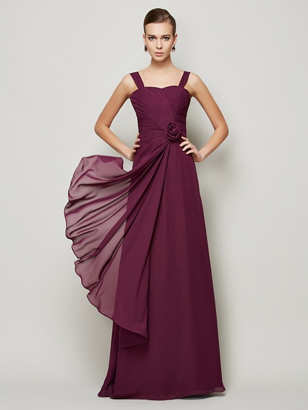 A-Line Chiffon Straps Sleeveless Floor-Length With Hand-Made Flower Dresses