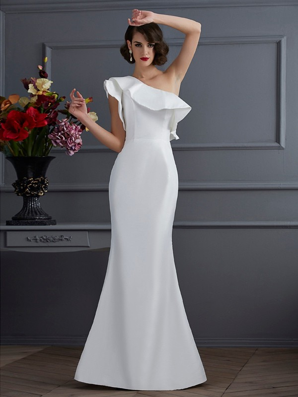 Mermaid Taffeta One-Shoulder Sleeveless Floor-Length With Ruffles Dresses