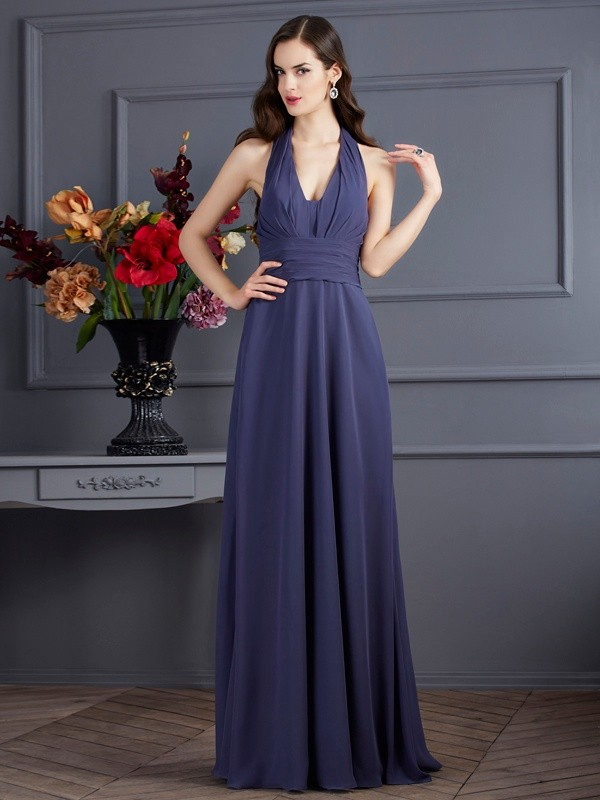 A-Line Chiffon Halter Sleeveless Floor-Length With Pleats Dresses