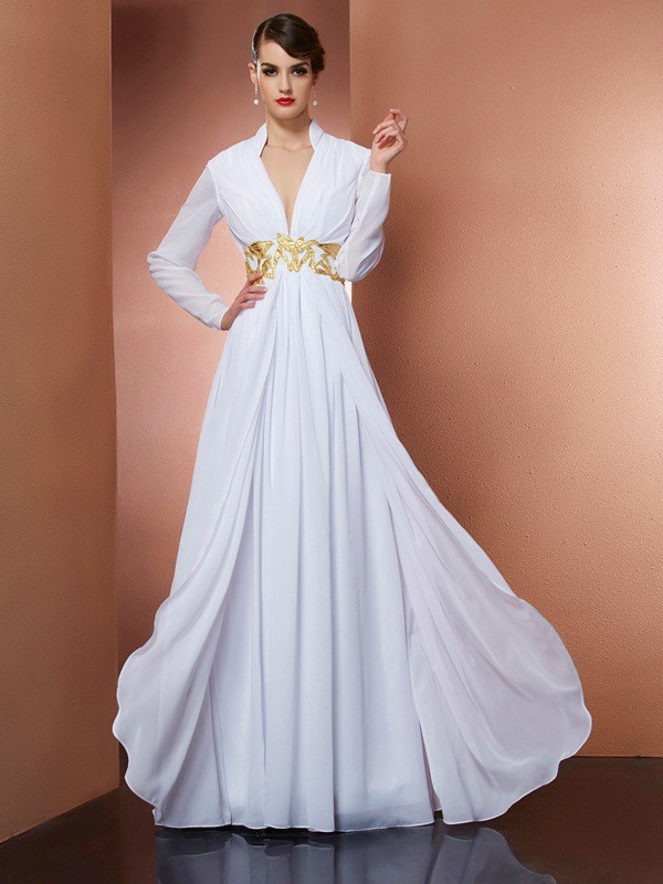 A-Line Chiffon V-neck Long Sleeves Floor-Length With Beading Dresses