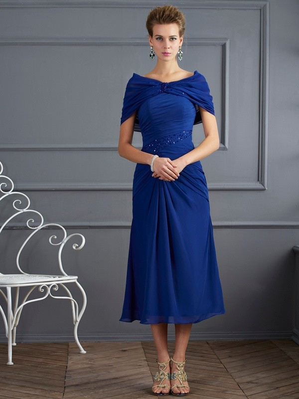 Sheath Chiffon Scoop Short Sleeves Short/Mini With Beading Mother of the Bride Dresses