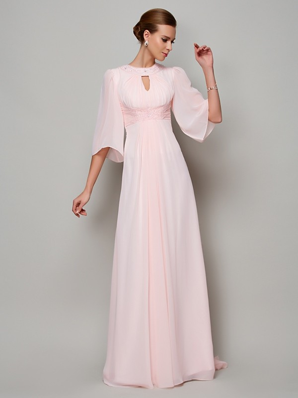 A-Line Chiffon High Neck 1/2 Sleeves Sweep/Brush Train With Beading Mother of the Bride Dresses