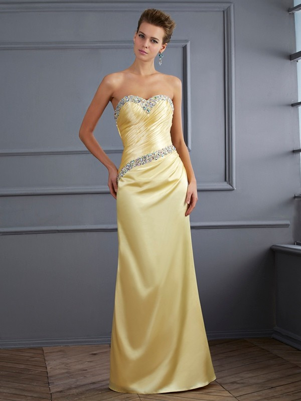 Mermaid Elastic Woven Satin Sweetheart Sleeveless Floor-Length With Beading Dresses