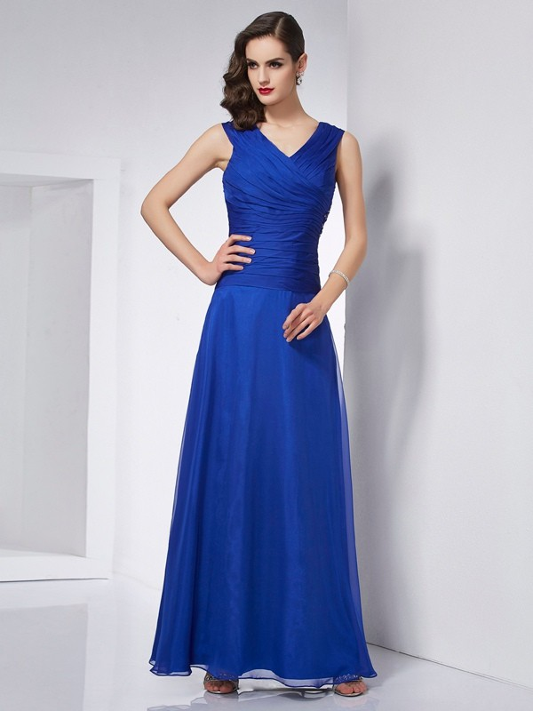 A-Line Chiffon V-neck Sleeveless Ankle-Length With Pleats Dresses