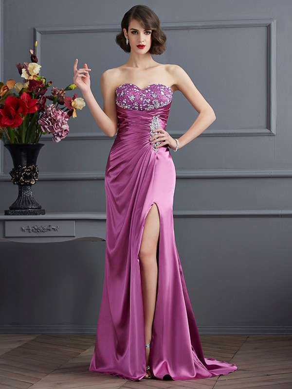 Sheath Elastic Woven Satin Sweetheart Sleeveless Sweep/Brush Train With Beading Dresses