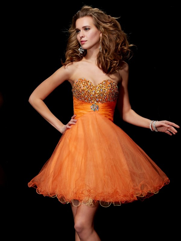 A-Line Organza Strapless Sleeveless Short/Mini With Beading Homecoming Dresses