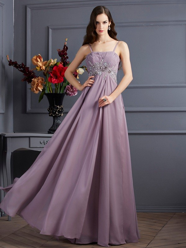 Empire Chiffon Spaghetti Straps Sleeveless Floor-Length With Beading Dresses