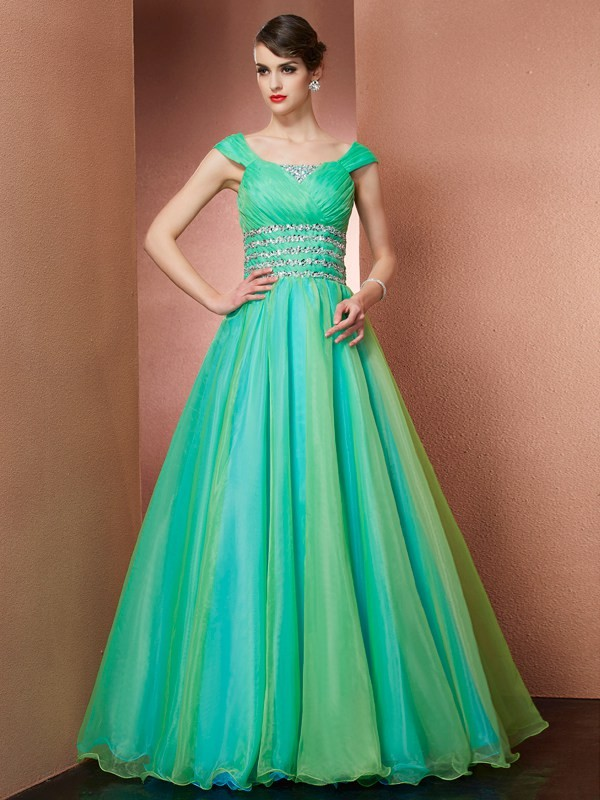 Ball Gown Satin Off-the-Shoulder Sleeveless Floor-Length With Beading Quinceanera Dresses