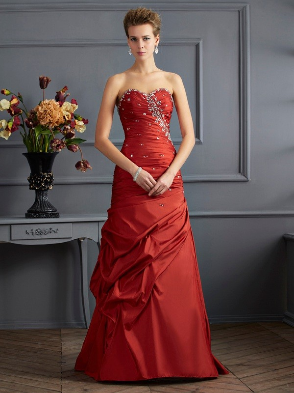 Mermaid Taffeta Sweetheart Sleeveless Floor-Length With Beading Dresses