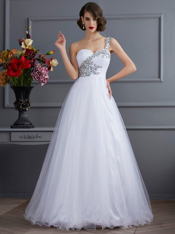 Ball Gown Elastic Woven Satin One-Shoulder Sleeveless Floor-Length With Beading Quinceanera Dresses