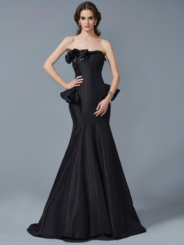 Mermaid Taffeta Strapless Sleeveless Sweep/Brush Train With Ruffles Dresses