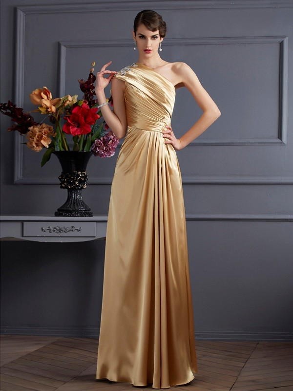 A-Line Elastic Woven Satin One-Shoulder Sleeveless Floor-Length With Beading Dresses