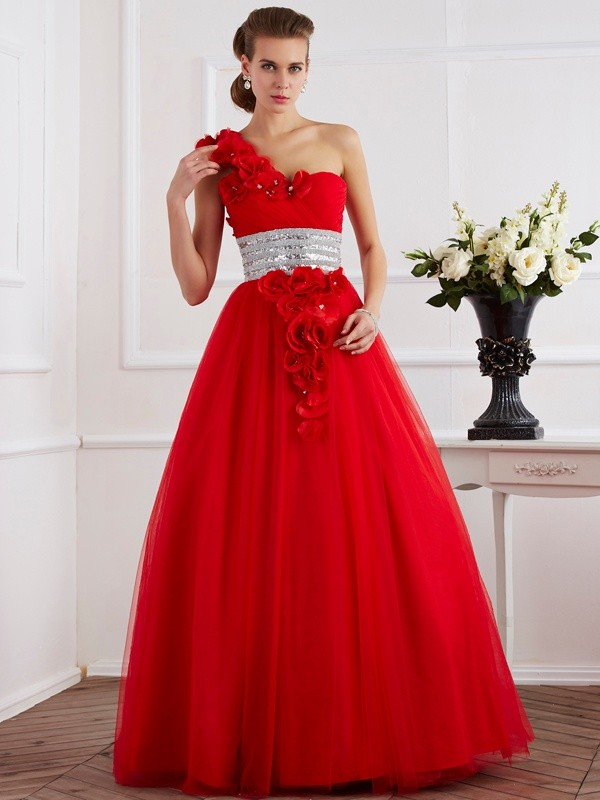 Ball Gown Net One-Shoulder Sleeveless Floor-Length With Beading Quinceanera Dresses