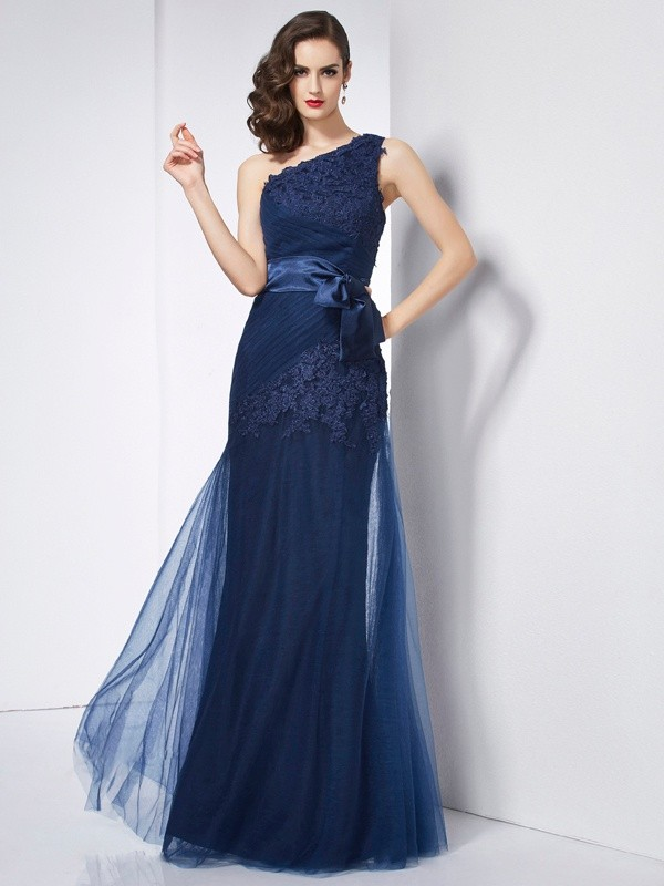 A-Line Net One-Shoulder Sleeveless Floor-Length With Applique Dresses