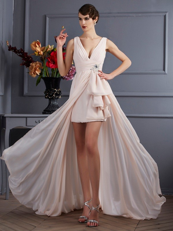 A-Line Chiffon Straps Sleeveless Court Train With Beading Dresses