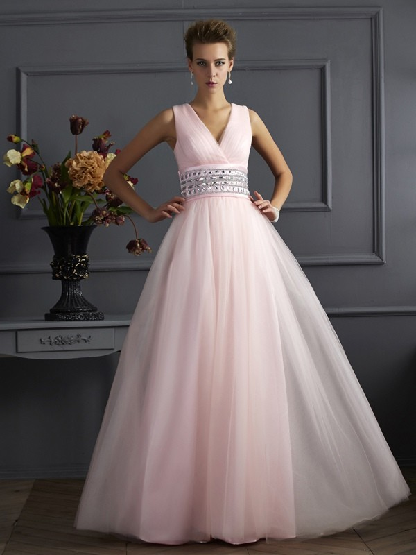 Ball Gown Net V-neck Sleeveless Floor-Length With Beading Dresses