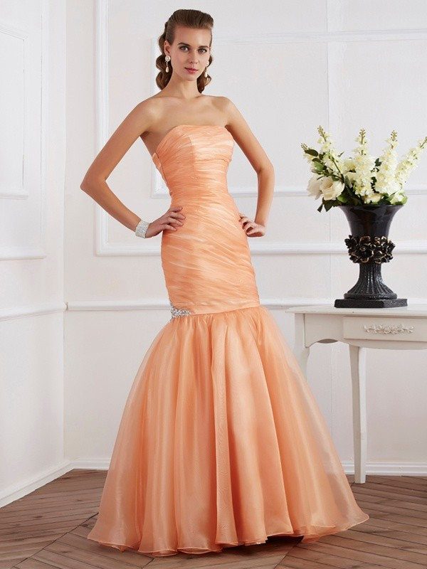 Mermaid Tulle Strapless Sleeveless Floor-Length With Beading Dresses