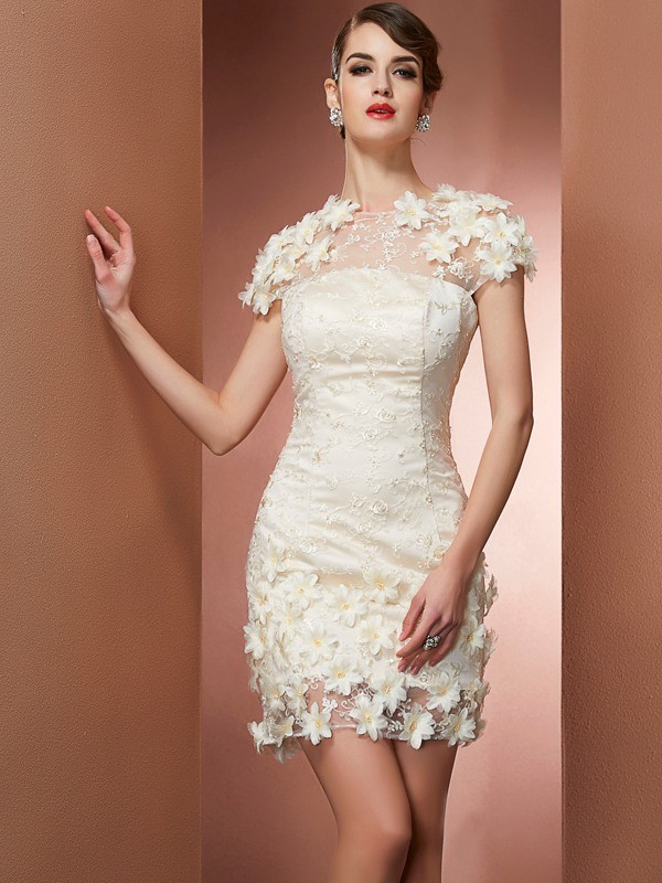 Sheath Satin High Neck Short Sleeves Short/Mini With Applique Homecoming Dresses