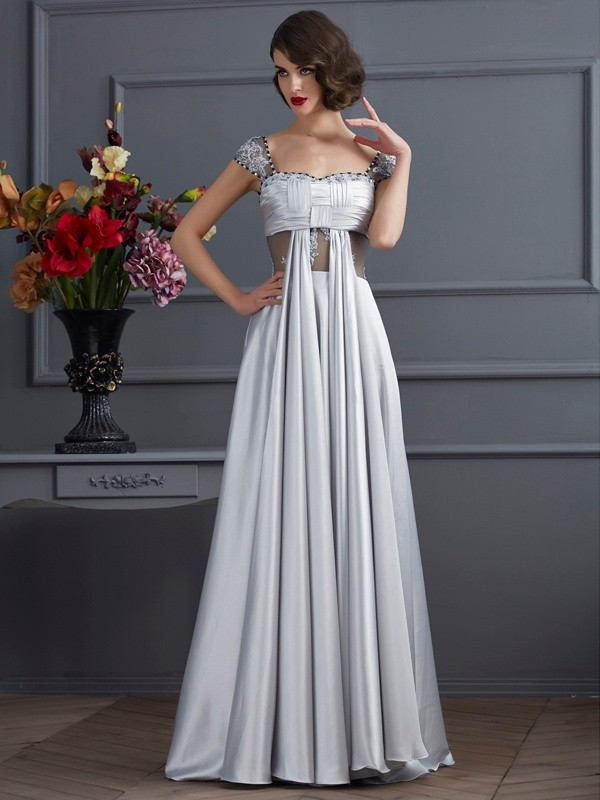 A-Line Elastic Woven Satin Off-the-Shoulder Sleeveless Floor-Length With Pleats Dresses