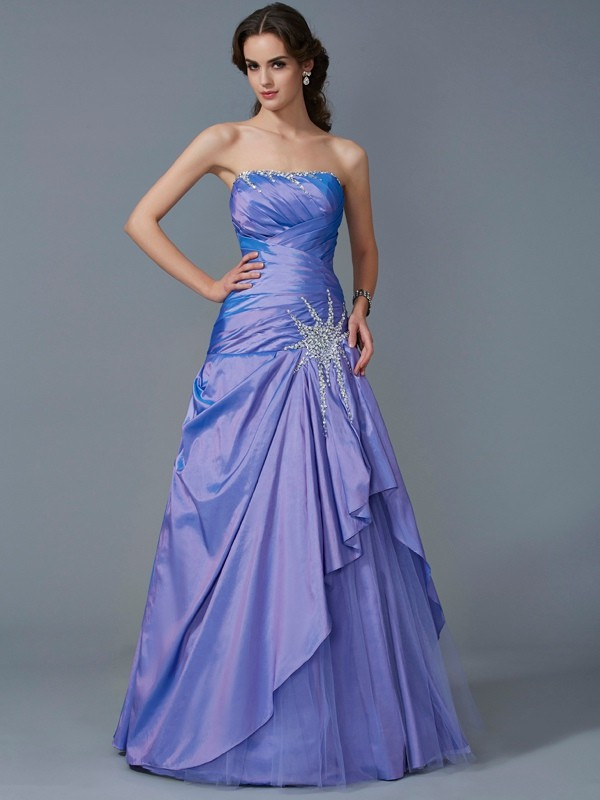 Mermaid Taffeta Strapless Sleeveless Floor-Length With Beading Quinceanera Dresses
