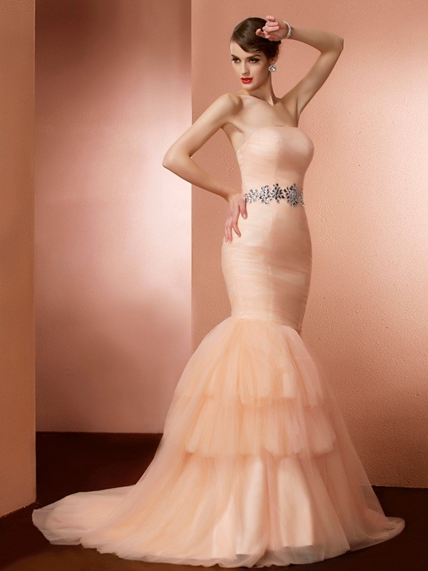 Mermaid Net Strapless Sleeveless Sweep/Brush Train With Beading Dresses