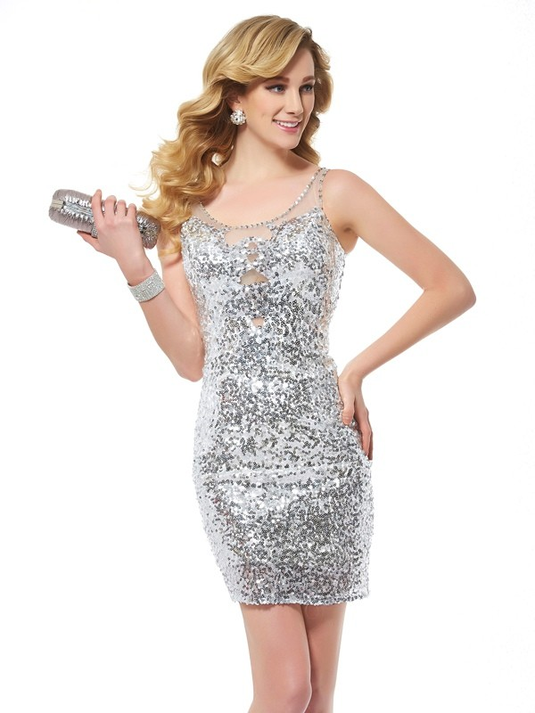 Sheath Sequins Scoop Sleeveless Short/Mini With Lace Homecoming Dresses