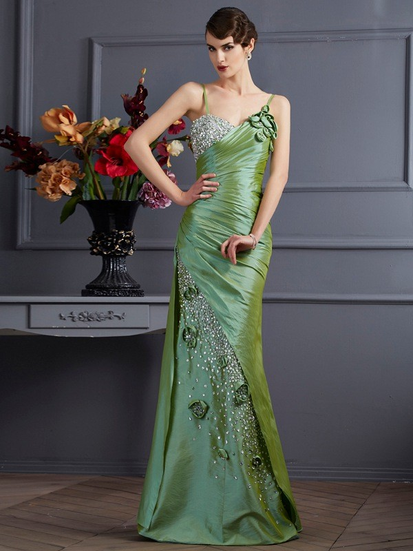 Mermaid Taffeta Spaghetti Straps Sleeveless Floor-Length With Beading Dresses