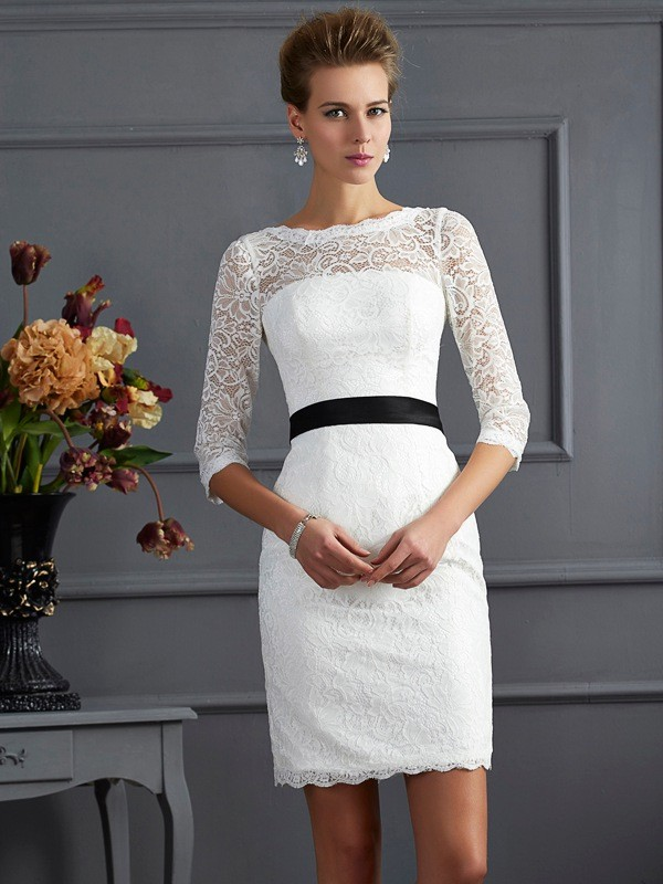 Sheath Lace Scoop 3/4 Sleeves Short/Mini With Sash/Ribbon/Belt Mother of the Bride Dresses