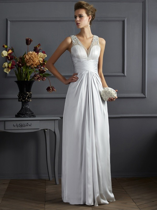 A-Line Silk like Satin Straps Sleeveless Floor-Length With Beading Dresses