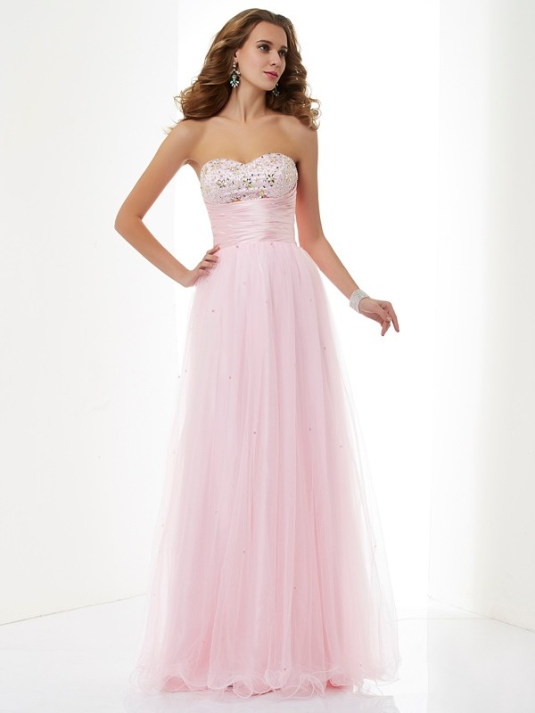 A-Line Elastic Woven Satin Sweetheart Sleeveless Floor-Length With Beading Dresses
