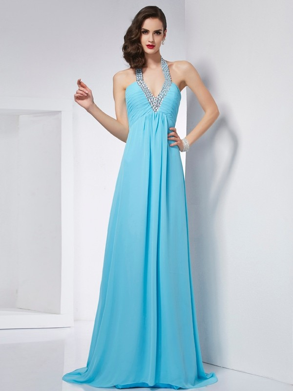 A-Line Chiffon Halter Sleeveless Sweep/Brush Train With Beading Dresses
