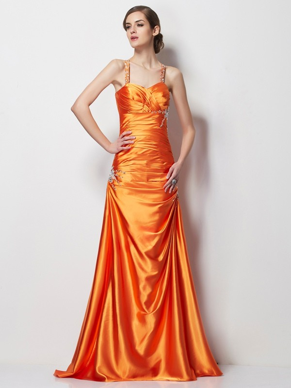A-Line Elastic Woven Satin Spaghetti Straps Sleeveless Sweep/Brush Train With Beading Dresses