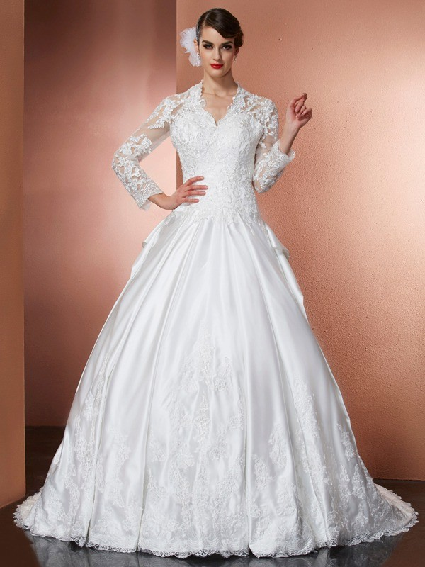 A-Line Satin V-neck Long Sleeves Cathedral Train With Applique Wedding Dresses