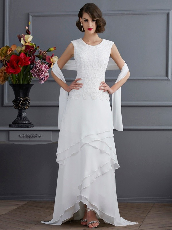 Sheath Chiffon Bateau Sleeveless Asymmetrical With Lace Mother of the Bride Dresses