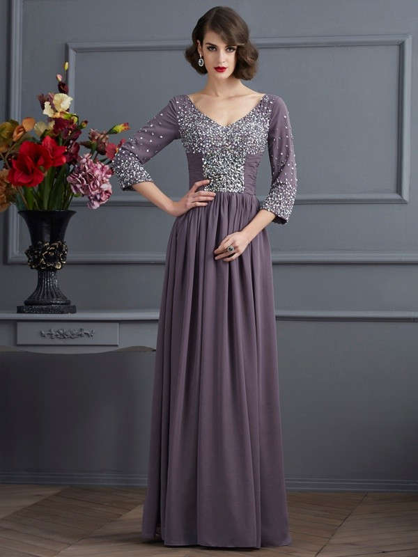 Sheath Chiffon V-neck 3/4 Sleeves Floor-Length With Beading Mother of the Bride Dresses