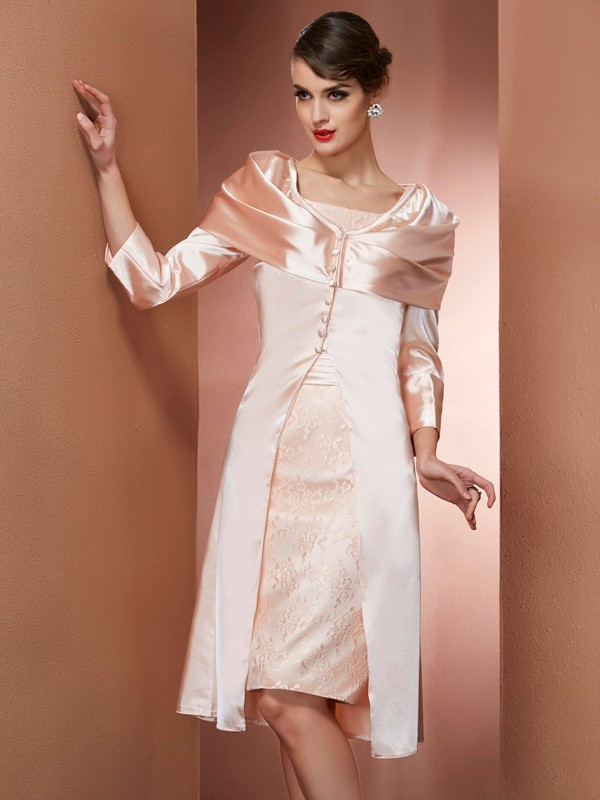 Sheath Elastic Woven Satin Square Sleeveless Knee-Length With Lace Mother of the Bride Dresses