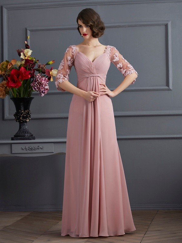 A-Line Chiffon Sweetheart 1/2 Sleeves Floor-Length With Beading Dresses