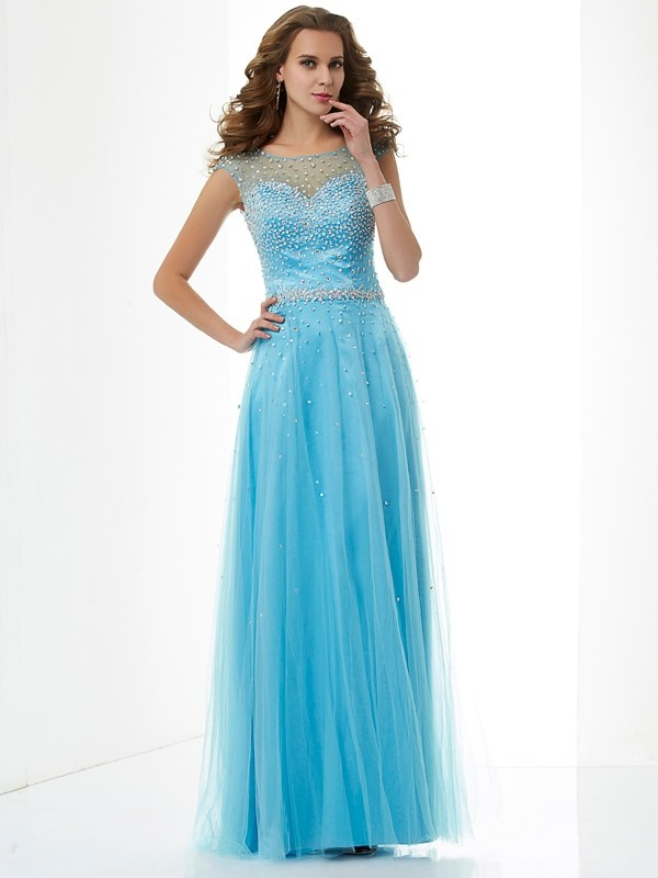 Sheath Net High Neck Sleeveless Floor-Length With Beading Dresses