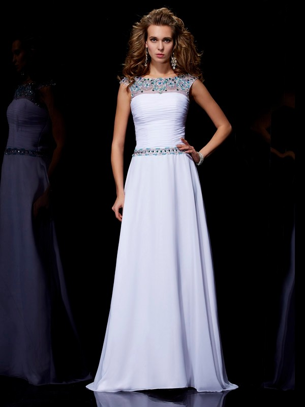 A-Line Chiffon Scoop Short Sleeves Sweep/Brush Train With Beading Dresses