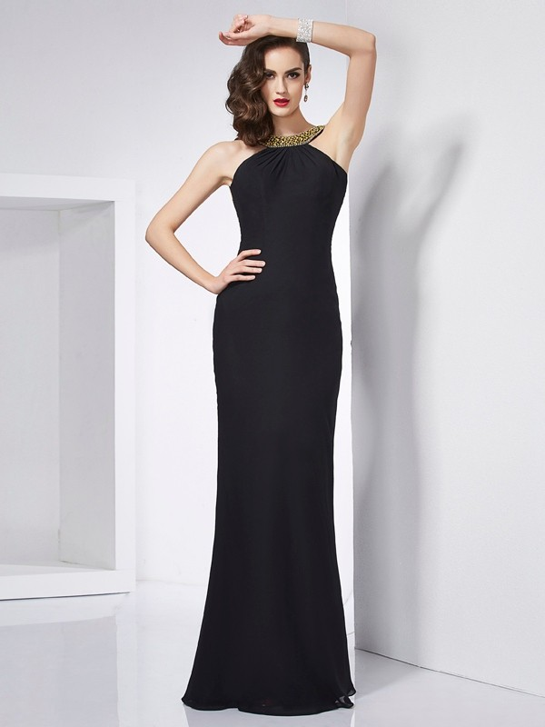 Mermaid Chiffon Jewel Sleeveless Floor-Length With Beading Dresses