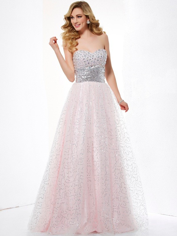 Ball Gown Net Sweetheart Sleeveless Floor-Length With Rhinestone Dresses