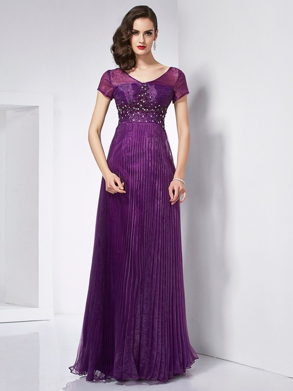 A-Line Organza V-neck Short Sleeves Floor-Length With Beading Dresses