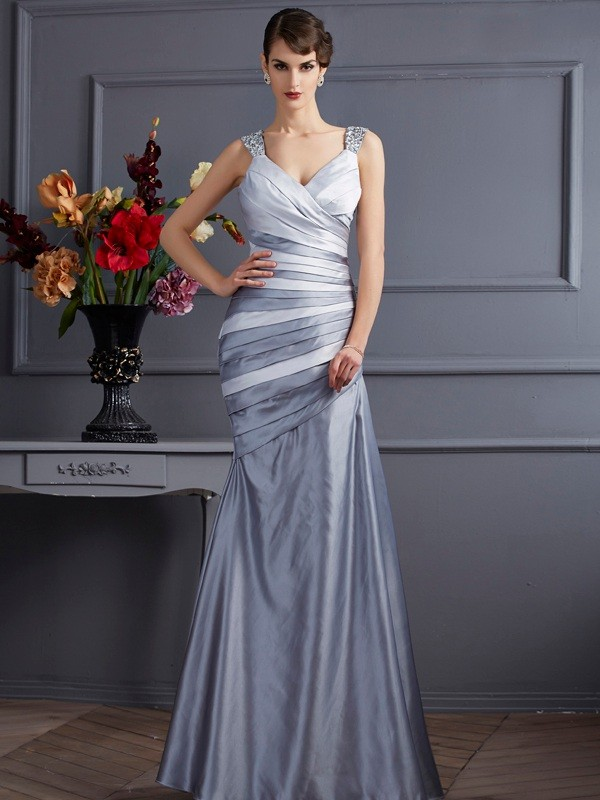 Mermaid Satin Straps Sleeveless Floor-Length With Pleats Dresses